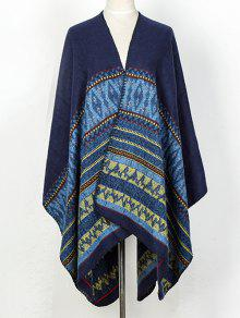 Geometry Thicken Cape Pashmina - Deep Blue