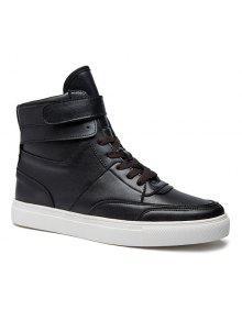 عارضة بو الجلود الدانتيل متابعة الأحذية - أسود 41