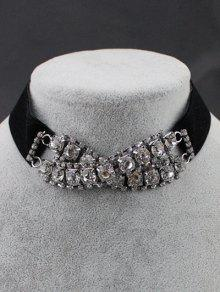 Rhinestone Choker Necklace - Black
