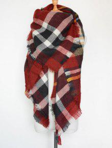 Plaid Series Fringed Scarf - Wine Red