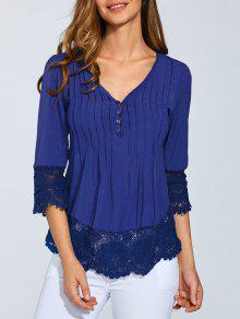 Scalloped Lace Splicing Blouse - Blue Xl