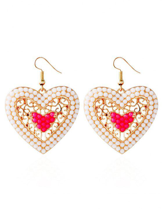 hot Bohemian Love Heart Beads Earrings - PINK