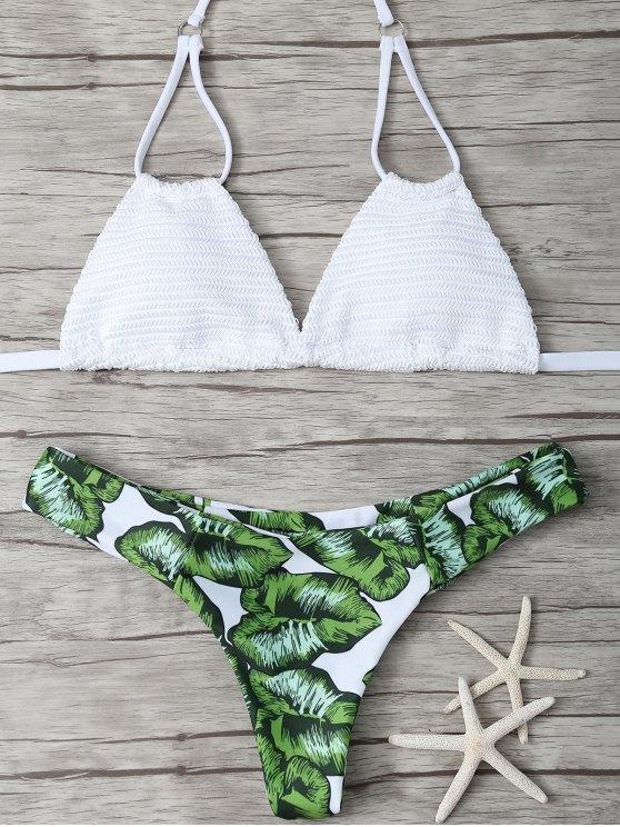lady Padded Leaf Print Bikini - WHITE S