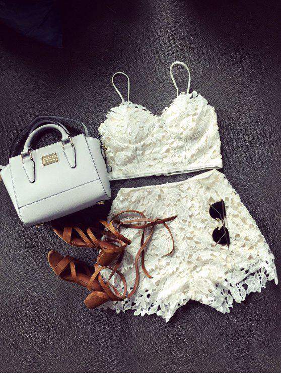outfit Lace Bralette Top and Shorts - WHITE L