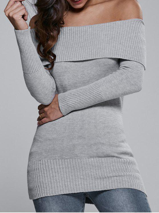 chic Off The Shoulder Slimming Sweater Dress - GRAY ONE SIZE