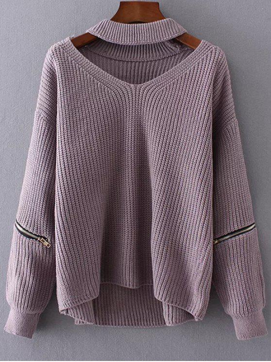 womens Cut Out Chunky Choker Sweater - LIGHT PURPLE ONE SIZE