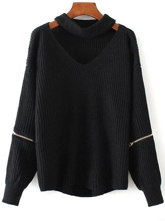 women Cut Out Chunky Choker Sweater - BLACK ONE SIZE