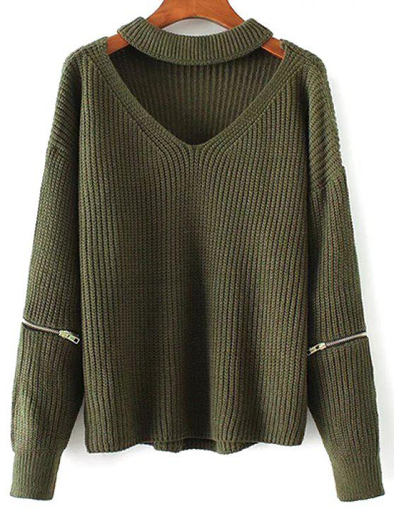 women's Cut Out Chunky Choker Sweater - GREEN ONE SIZE