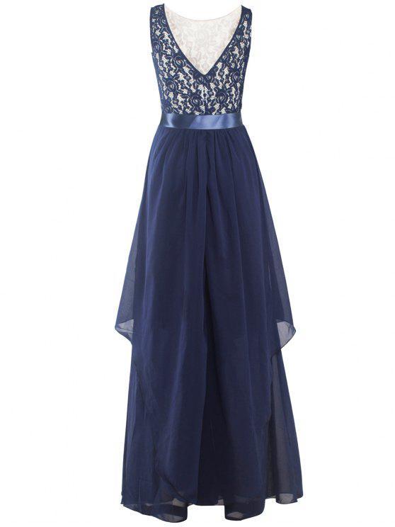 Maxi Vestido Diseño Capas Asimétricas y Encaje - Azul Purpúreo S