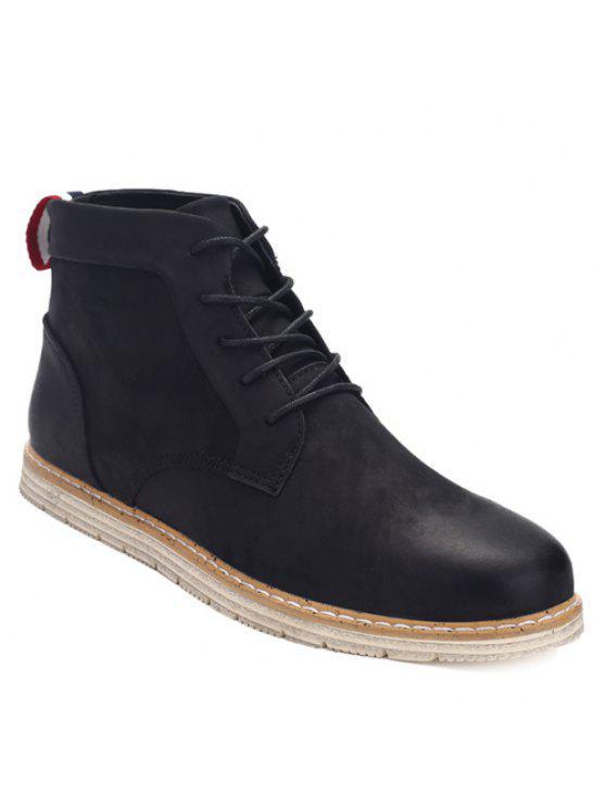 خياطة الدانتيل متابعة بو الجلود أحذية الكاحل - أسود 40