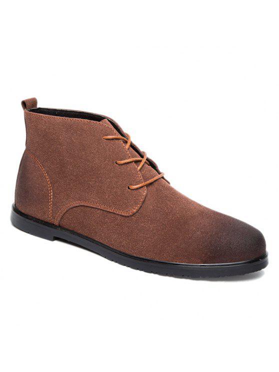ريترو الدانتيل متابعة أحذية الكاحل الجلد المدبوغ - BROWN 41