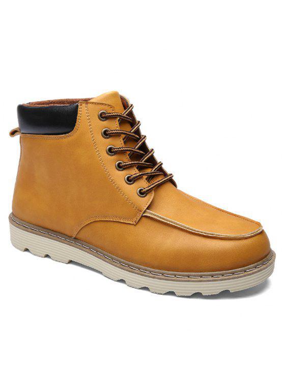 الدانتيل متابعة اللون تقسم بو الجلود الأحذية - البني الفاتح 44