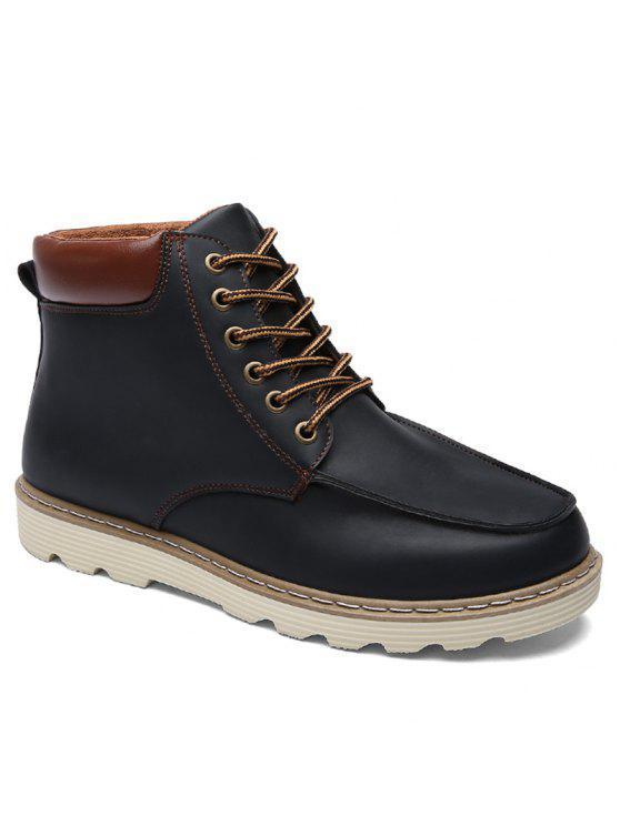 الدانتيل متابعة اللون تقسم بو الجلود الأحذية - أسود 44