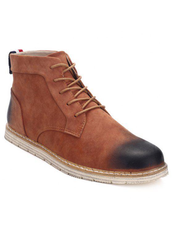 خياطة الدانتيل متابعة بو الجلود أحذية الكاحل - BROWN 40