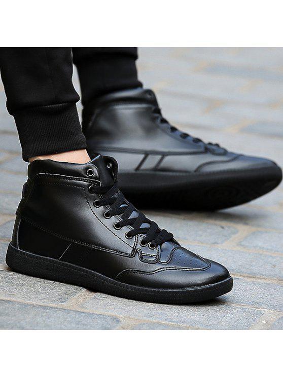 عالية أعلى بو الجلود أحذية رياضية - أسود 40