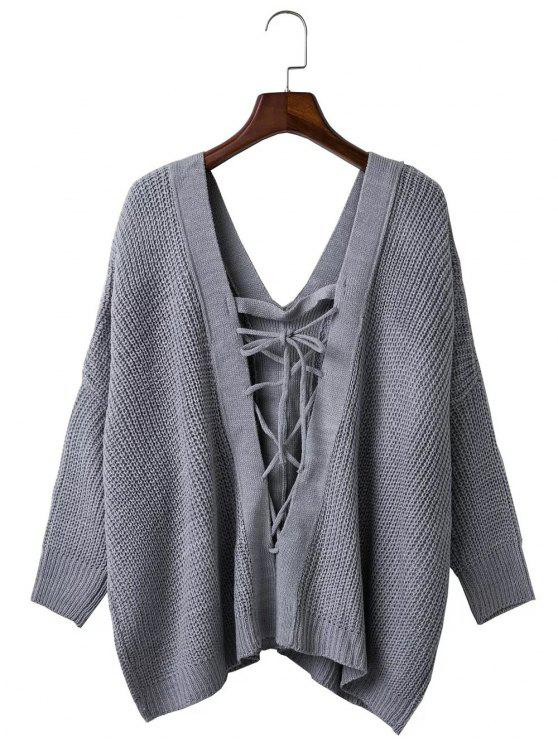 ladies Loose Back Lace Up Plunge Neck Sweater - GRAY ONE SIZE