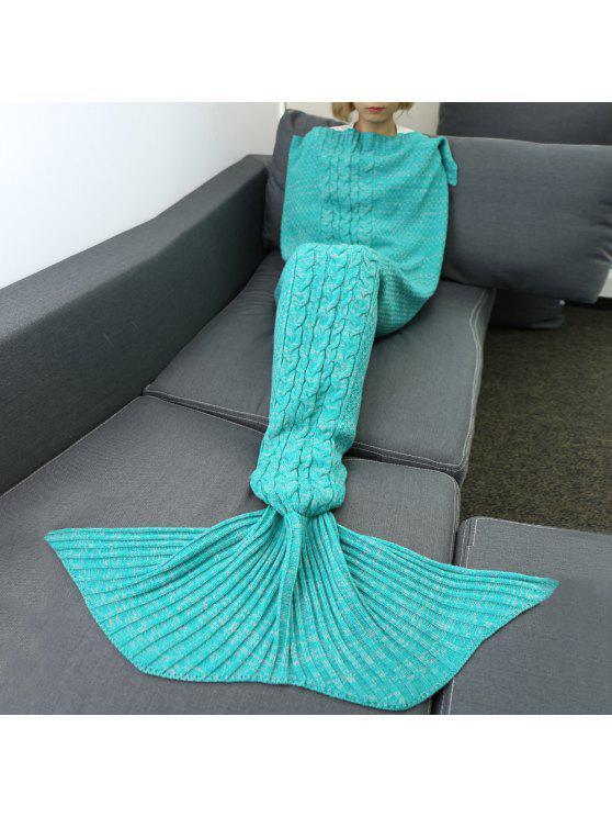 القنب زهرة مريحة الحياكة أريكة حورية البحر بطانية - أخضر M