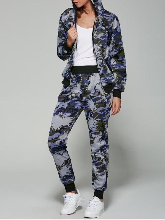 Costume de sport à capuche Camo - Bleu Marine 2XL