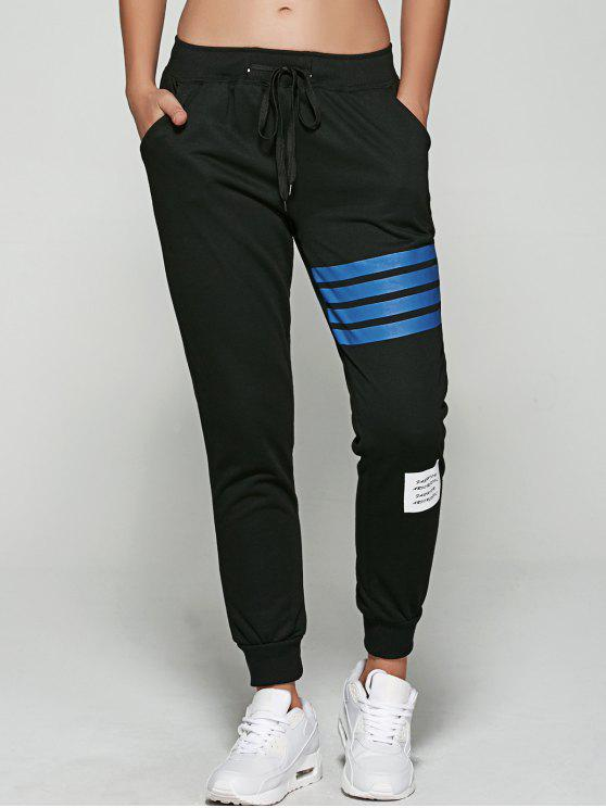 women Striped Letter Applique Jogger Pants - BLACK S