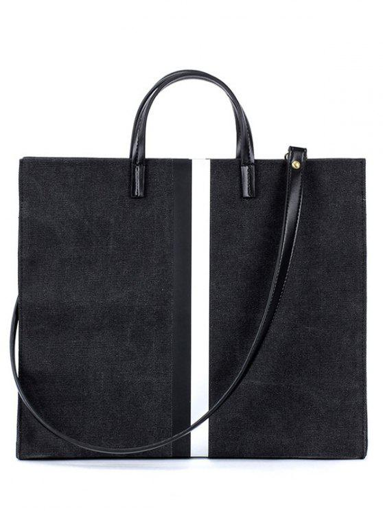 sale Striped Pattern Canvas Spliced Block Tote Bag - BLACK