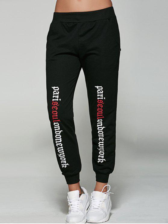 ladies Letter Jogger Pants - BLACK M