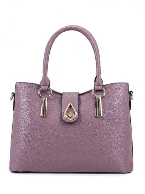 25e6358f7 41% OFF] 2019 Twist-Lock Metal Textured Leather Tote Bag In PALE ...
