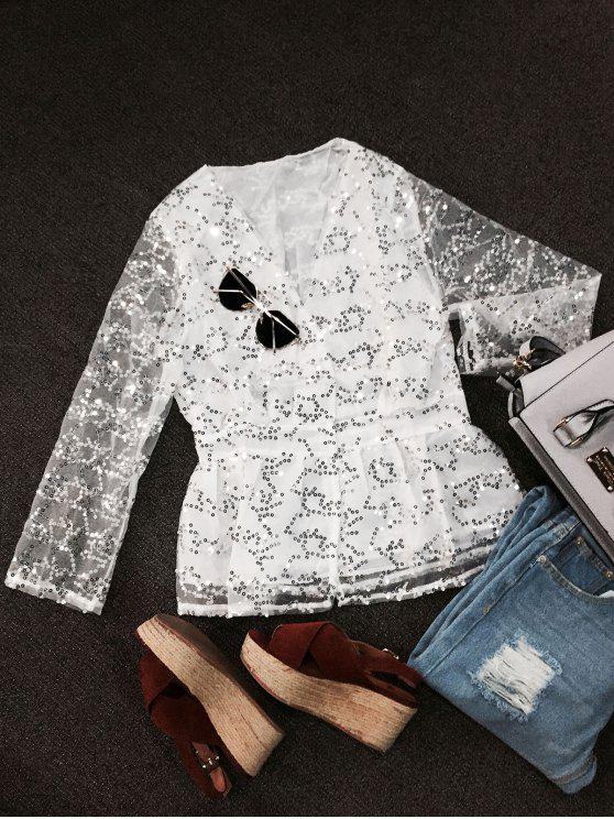 best Sequined Blouse - WHITE L