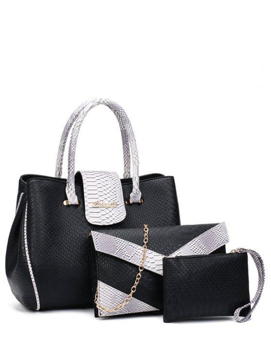 women's Color Spliced Embossed Metal Tote Bag - BLACK