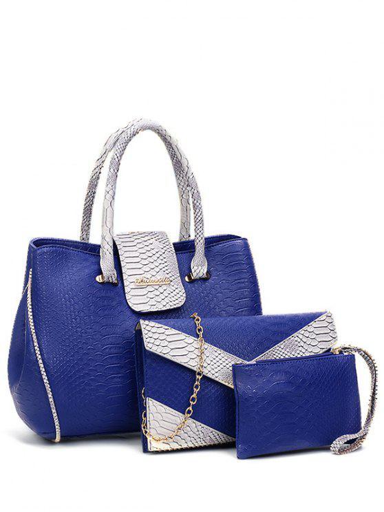 online Color Spliced Embossed Metal Tote Bag - BLUE