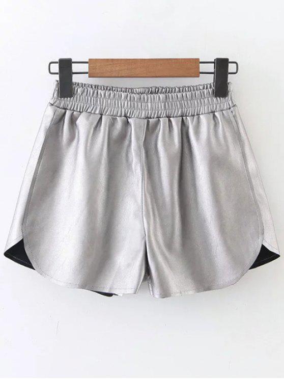 Taille élastique Faux Short en cuir - Argent M
