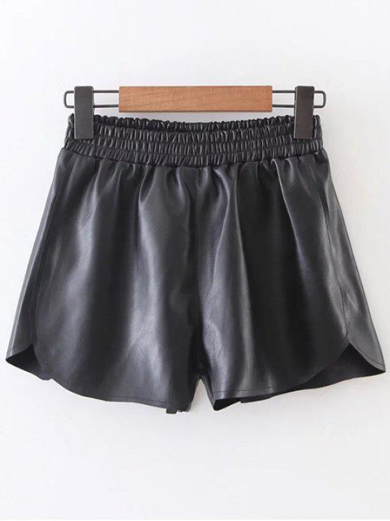 Taille élastique Faux Short en cuir - Noir M