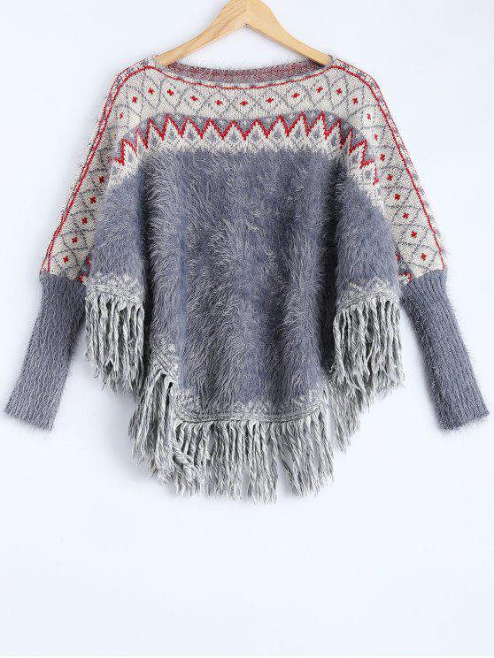 unique Fluffy Batwing Sweater - RED AND WHITE AND BLUE ONE SIZE