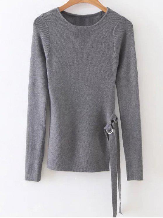 Side Slit Rib Sweater - Gris Taille Unique