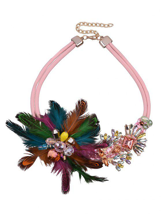 unique Flower Feather Fake Crystal Necklace - COLORFUL