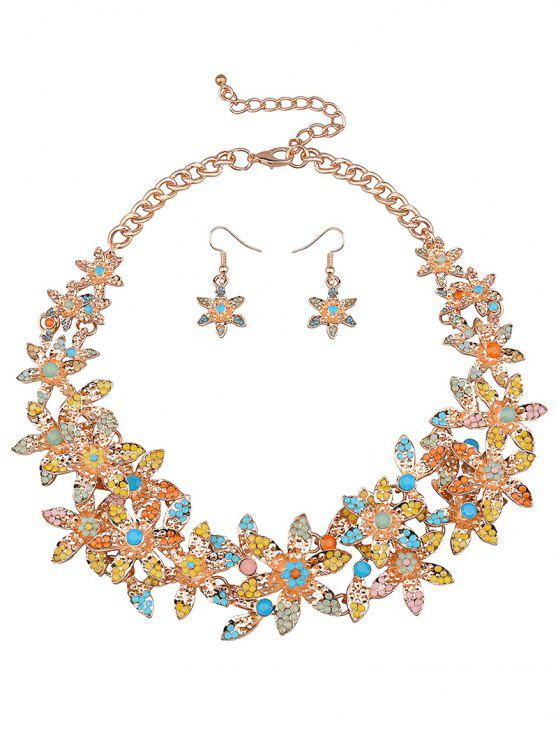 affordable Rhinestoned Flower Party Jewelry Set - YELLOW