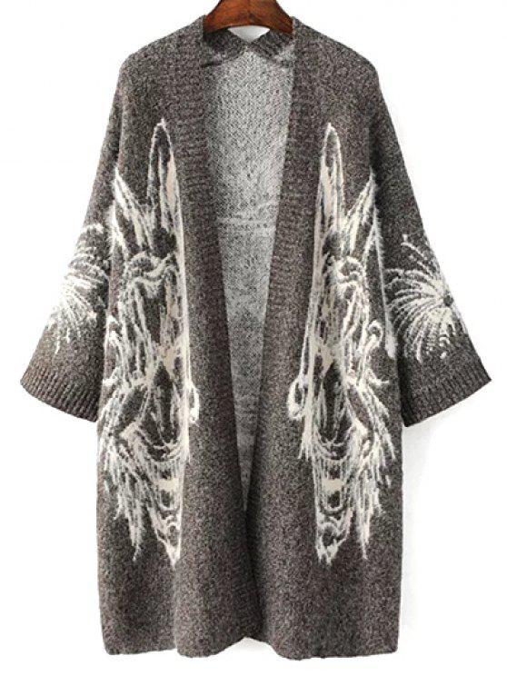 Cardigan Jacquard Long Oversize - Gris Taille Unique