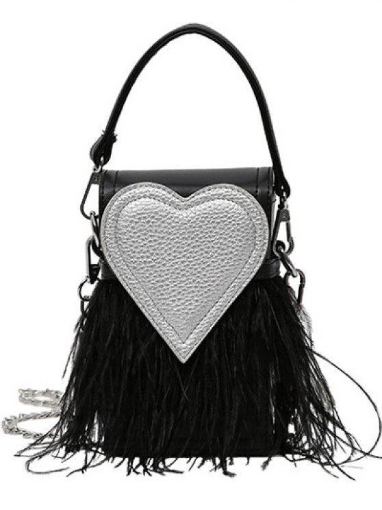 hot Color Block Heart Pattern Fringe Bag - BLACK