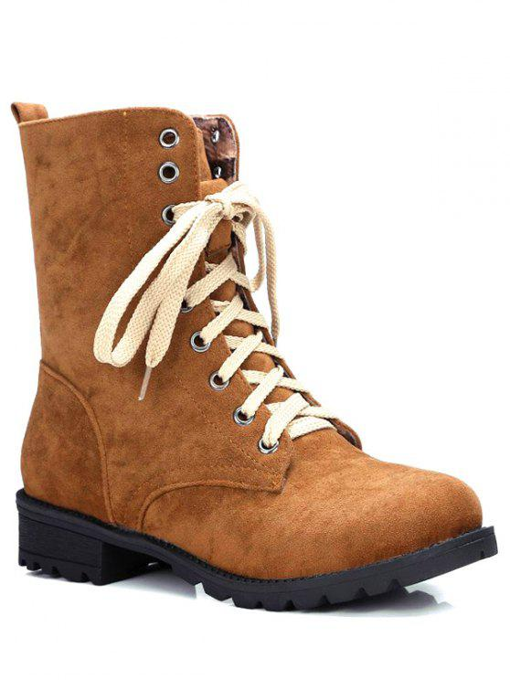women's Lace-Up Solid Colour Combat Boots - BROWN 37