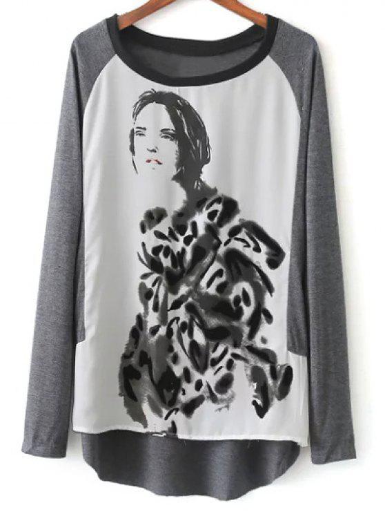 Raglán de la manga de tinta pintura de camisetas - Gris y negro S
