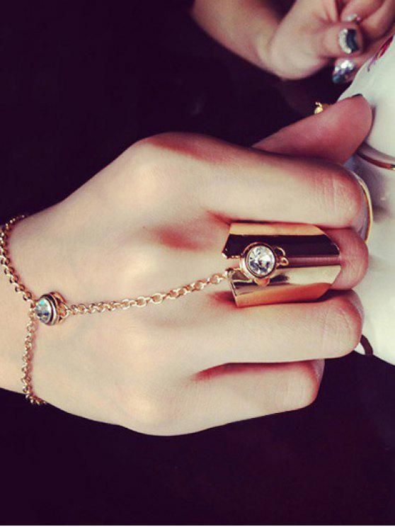 Geometrischer Ring mit Strass-Charme - Rosé-Gold