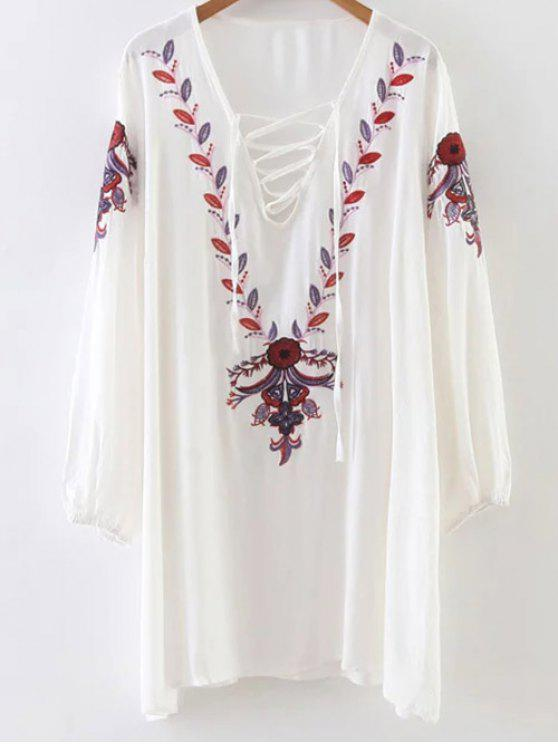 unique Floral Long Sleeve Embroidered Tunic Dress - WHITE ONE SIZE