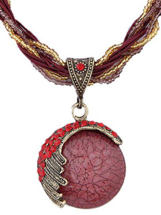 women's Faux Gem Multilayered Ethnic Style Necklace - RED