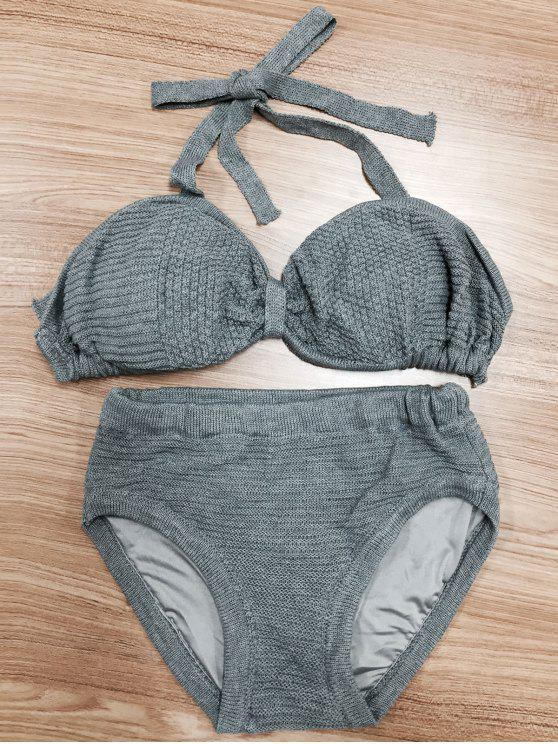Bikini de Tejido con Cuello de Halter con Nudo - Gris S