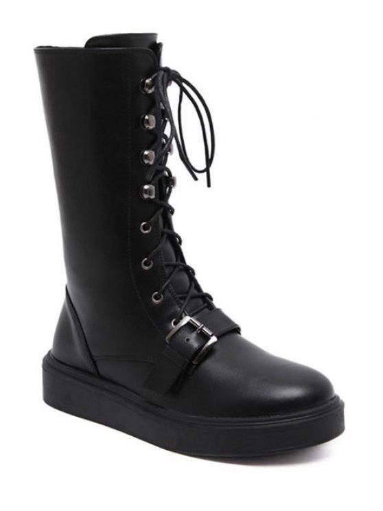 unique Buckle Platform Lace-Up Mid-Calf Boots - BLACK 39