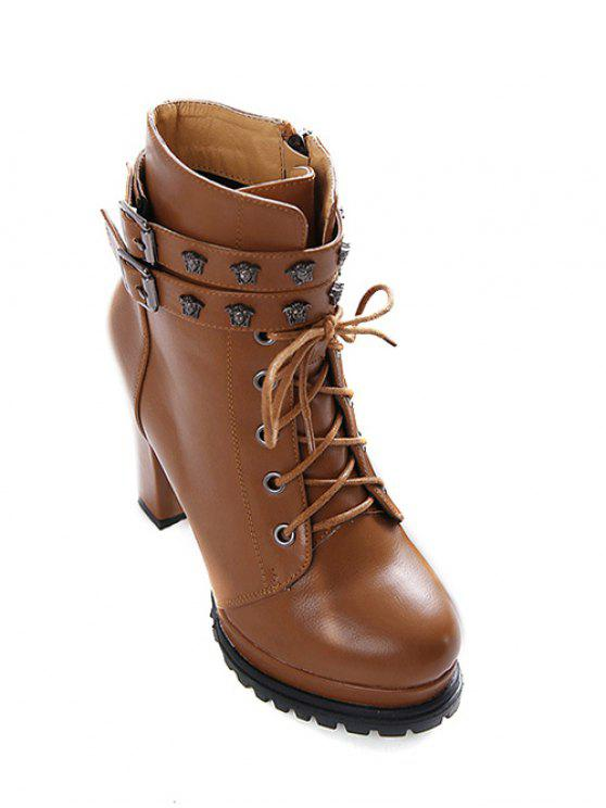 women's Double Buckle Lace-Up Metal Ankle Boots - LIGHT BROWN 39