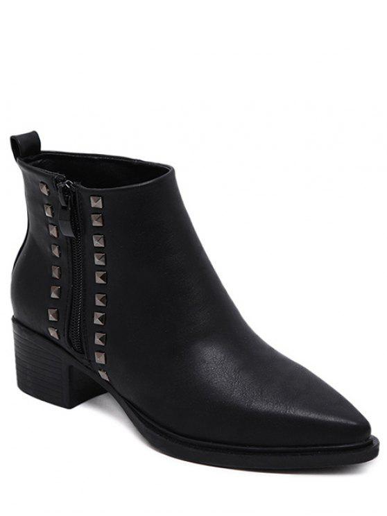 shops Metal Rivets Zipper Pointed Toe Ankle Boots - BLACK 37
