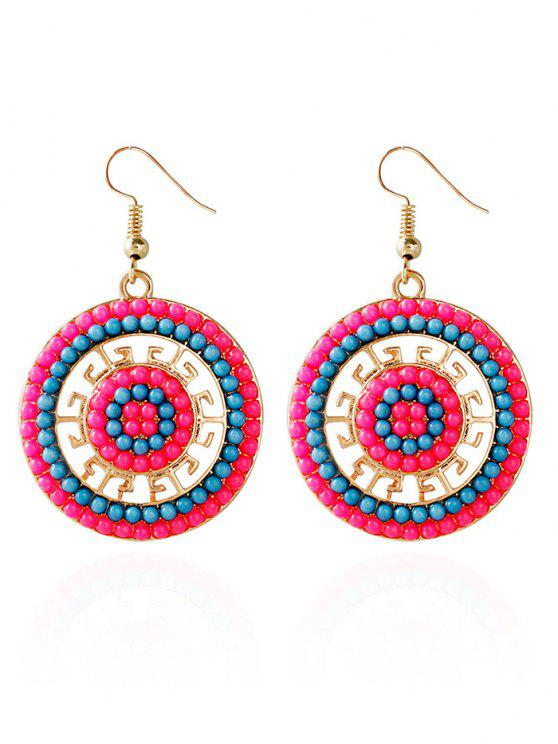 women Beads Circle Bohemian Earrings - BLUE