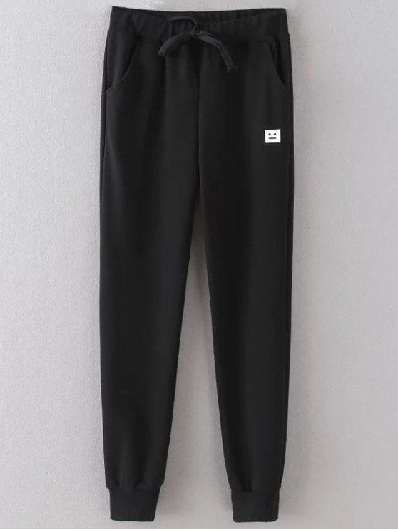 women's Emoticon Patched Jogging Pants - BLACK 2XL