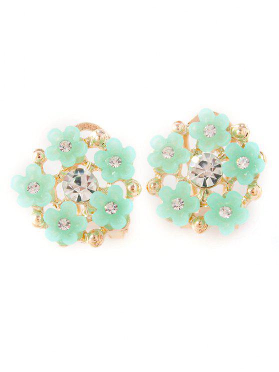 best Rhinestone Flower Adorn Earrings - GREEN