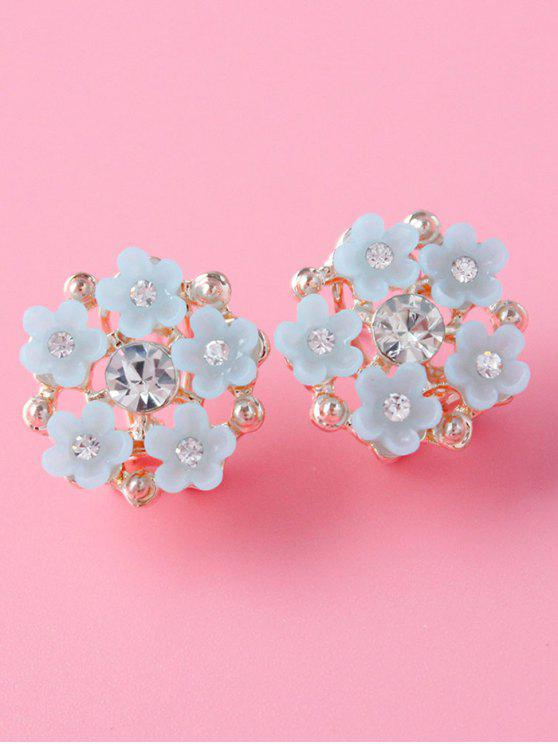 new Rhinestone Flower Adorn Earrings - GRAY